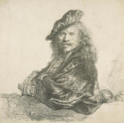 Rembrandt van Rijn - Self-Portrait, Leaning on a Stone Wall