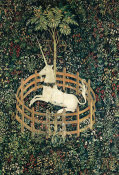 French (cartoon)/South Netherlandish (woven) - The Unicorn Rests in a Garden