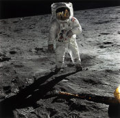 Neil Armstrong - Buzz Aldrin Walking on the Surface of the Moon near a Leg of the Lunar Module, 1969
