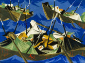 Jacob Lawrence - Struggle Series - No. 10: Washington Crossing the Delaware