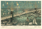 A. Major - Bird's-Eye View of the Great New York and Brooklyn Bridge, and Grand Display of Fireworks on Opening Night