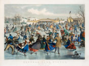 Currier and Ives - Central Park, Winter - The Skating Pond