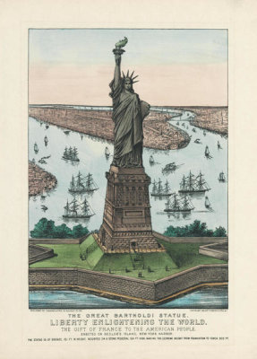 Currier and Ives - The Great Bartholdi Statue - Liberty Enlightening the World, 1885